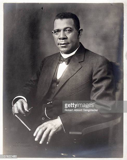Studio portrait of American educator economist and industrialist Booker T Washington founder of the Tuskegee Institute in Alabama ca 1912