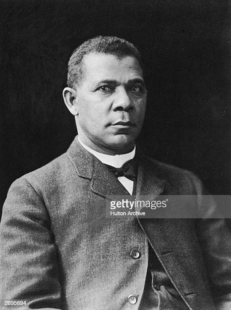 Studio portrait of American educator economist and industrialist Booker T Washington founder of the Tuskegee Institute in Alabama
