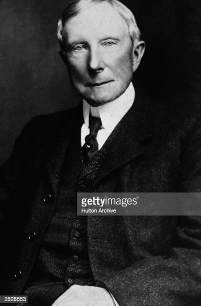 Studio portrait of American industrialist and philanthropist John D Rockefeller