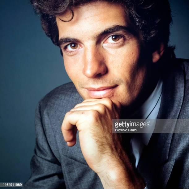 Studio portrait of American lawyer and magazine publisher John F Kennedy Jr , New York, New York, 1988.