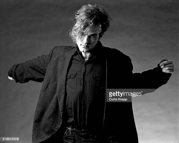 Studio portrait of American musician Michael Stipe of the group REM New York 1982
