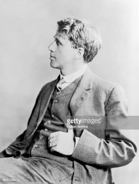 A studio portrait of American poet and teacher Robert Frost taken in England where he lived from 1912 1915 publishing his first book 'A Boy's Will'...