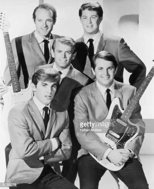 Studio portrait of American pop group The Beach Boys. L-R: Dennis Wilson, Al Jardine, Mike Love, Brian Wilson and Carl Wilson.