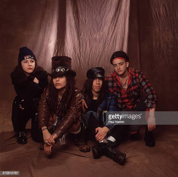 Studio portrait of American Rock group Four Non Blondes Chicago Illinois March 3 1993 Pictured are from left Dawn Richardson Linda Perry Roger Rocha...