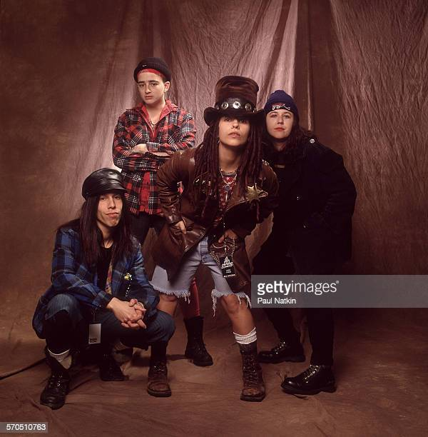 Studio portrait of American Rock group Four Non Blondes Chicago Illinois March 3 1993 Pictured are from left Roger Rocha Christa Hillhouse Linda...