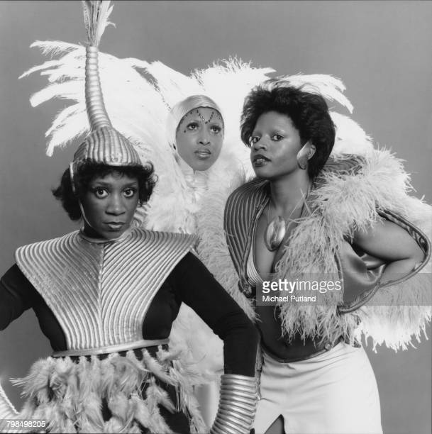 Studio portrait of American vocal group Labelle on 27th February 1975 Left to right Patti LaBelle Nona Hendryx and Sarah Dash