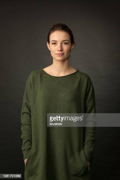 studio portrait of an attractive 20 year old woman - formal portrait stock pictures, royalty-free photos & images