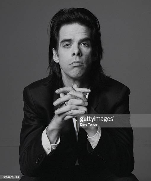 Studio portrait of Australian singersongwriter Nick Cave during promotion of his duet with PJ Harvey 'Henry Lee' from the album 'Murder Ballads'...