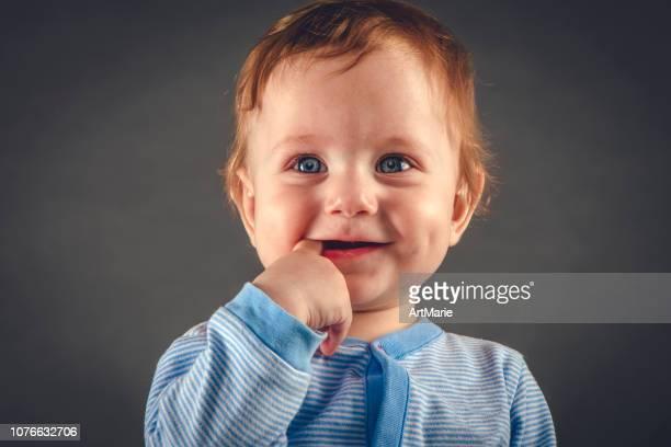 retrato de estúdio de menino com 9 meses em fundo cinza-azul - chupando dedo - fotografias e filmes do acervo
