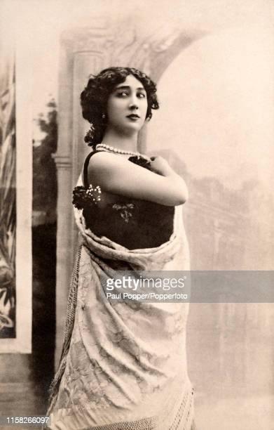 A studio portrait of Carolina Otero La Belle or La Belle Otero a popular Folies Bergere dancer in Paris circa 1900