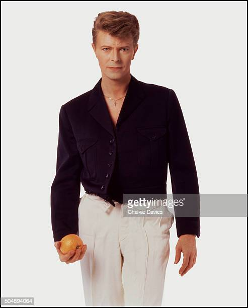 Studio portrait of David Bowie pictured at the time of the release of his single 'Absolute Beginners' London 1986
