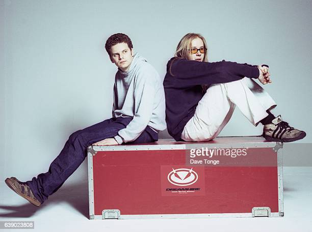 Studio portrait of Ed Simons and Tom Rowlands from electronic music duo The Chemical Brothers United Kingdom 1997