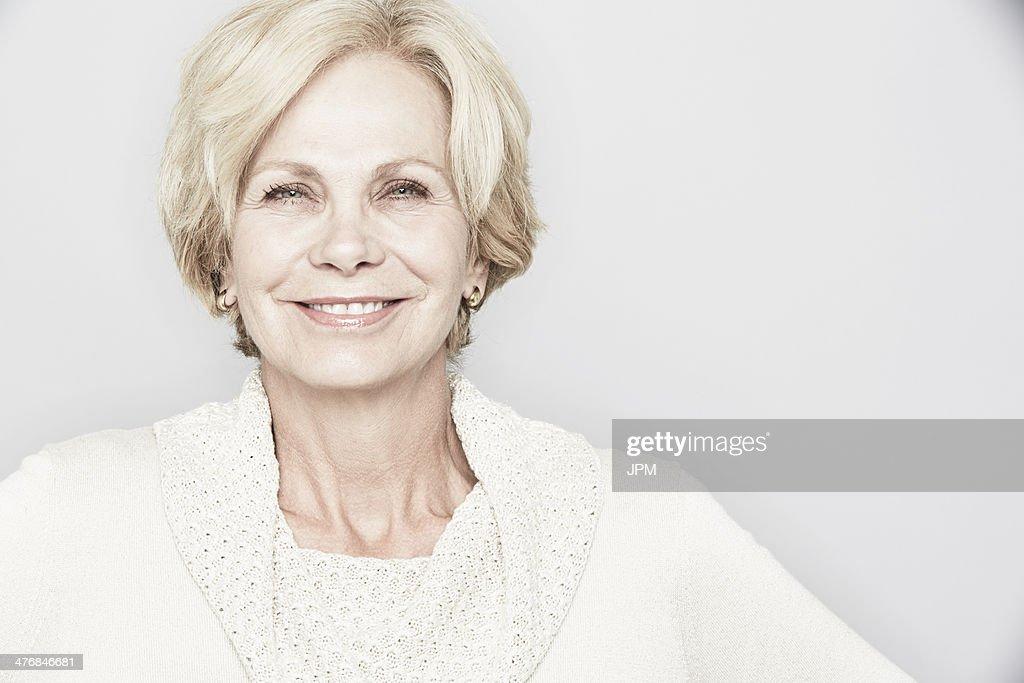 Studio portrait of elegant senior woman : Stock Photo