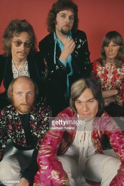 Studio portrait of English folk rock group Strawbs posed together in London on 28th November 1972 The band are clockwise from top left bassist John...