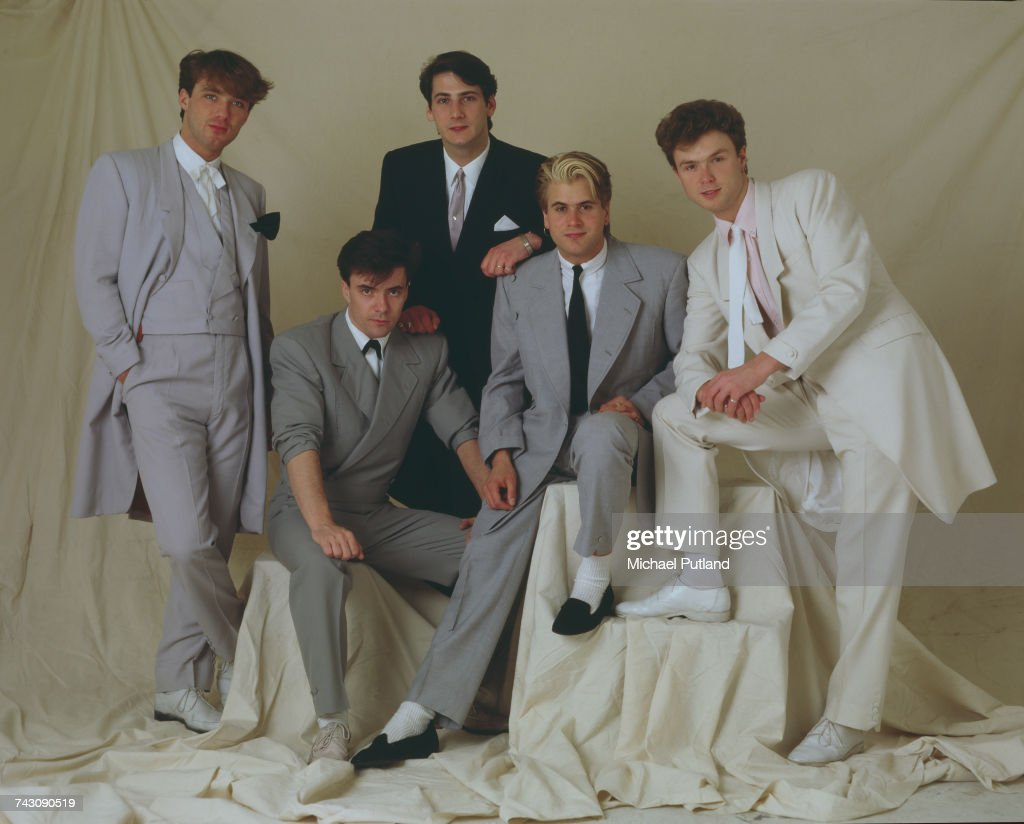 Studio portrait of English pop group Spandau Ballet, posed in London in May 1983. Left to right: bassist Martin Kemp, drummer John Keeble, singer Tony Hadley, saxophonist Steve Norman and guitarist Gary Kemp.