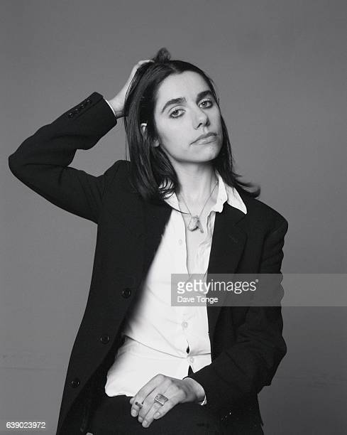 Studio portrait of English singersongwriter PJ Harvey during promotion of her duet with Nick Cave 'Henry Lee' United Kingdom 1995