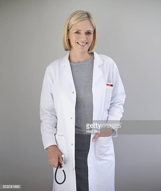 Studio portrait of female doctor
