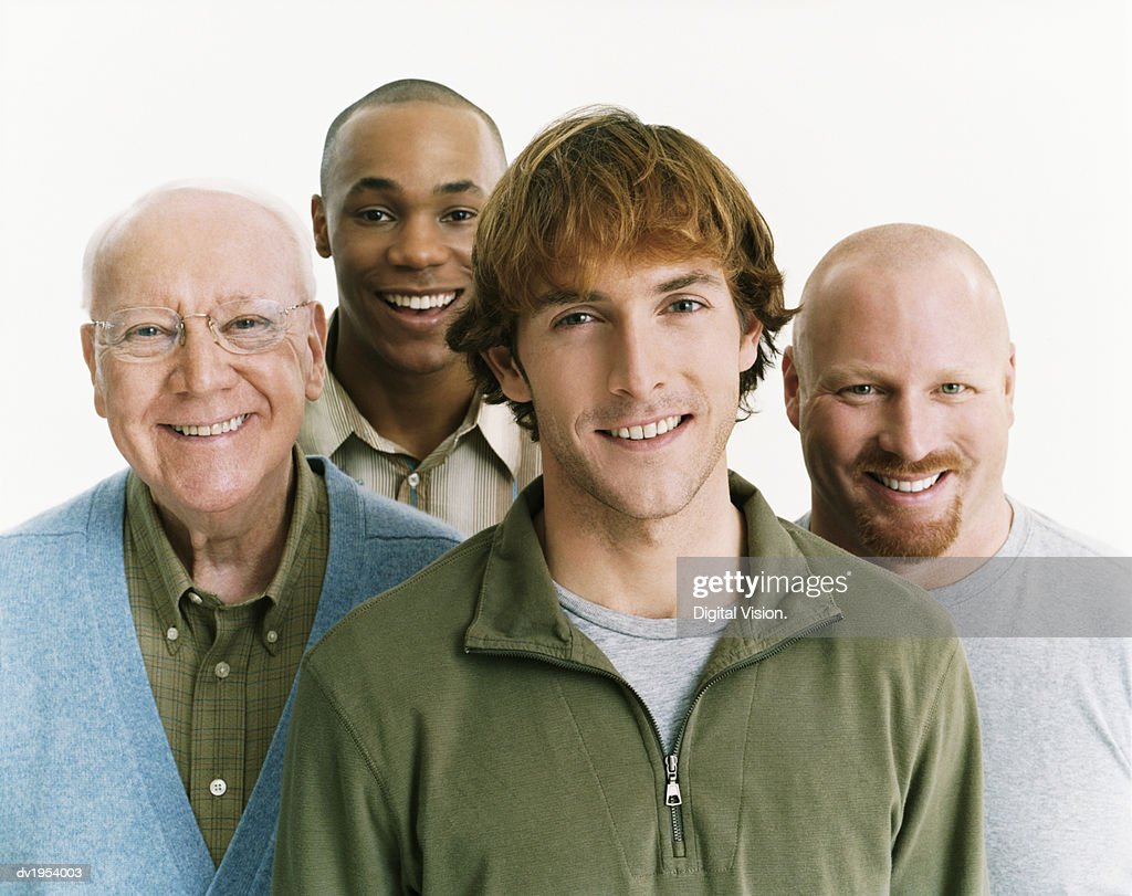 Studio Portrait of Four Men of Mixed Ages : Stock Photo