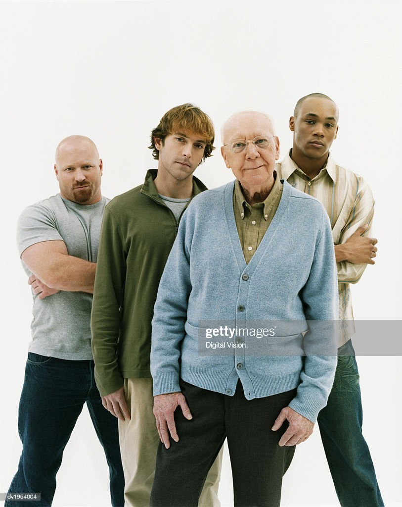 Studio Portrait of Four Serious Men of Mixed Ages : Stock Photo
