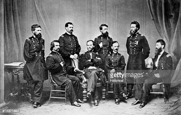 Studio portrait of General William T Sherman and his staff Left to right are Generals Jeff C Davis William B Hazen OO Howard John A Logan Joseph A...