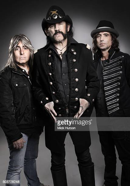 Studio portrait of hard rock band Motorhead with bassist and singer Lemmy Kilmister centre United Kingdom 7th November 2010
