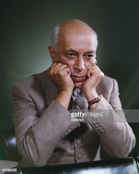 Studio portrait of Indian politician and India's first Prime Minister Jawaharlal Nehru as he rests his chin in his hands early 1960s
