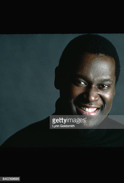 Studio portrait of Luther Vandross He is shown closeup wearing a black turtleneck Photograph 1982