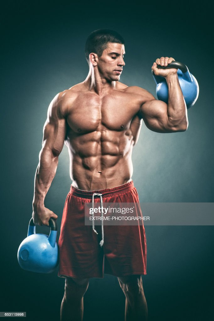 Studio portrait of male fitness athlete : Foto stock
