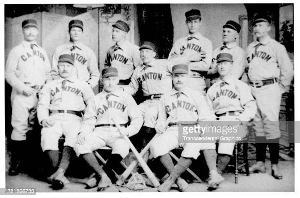 Studio portrait of players from the Canton baseball team, of the Tri-State League, Canton, Ohio, 1888.