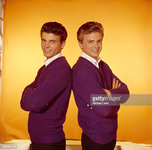 Studio portrait of pop celebrity musicians the Everly Brothers Phil and Don
