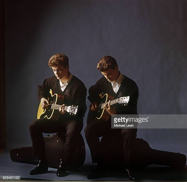 Studio portrait of pop celebrity musicians the Everly Brothers