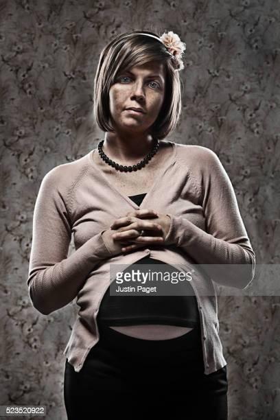 Studio portrait of pregnant woman