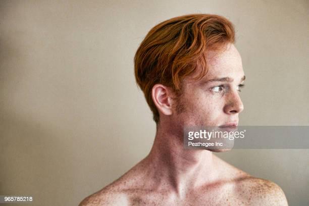 Studio portrait of red head