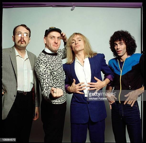 A studio portrait of rock band Cheap Trick New York November 1980 LR Bun E Carlos Rick Nielsen Robin Zander Tom Petersson