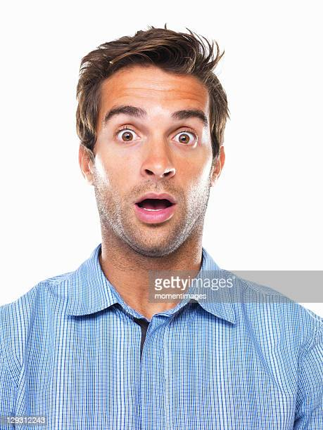 studio portrait of shocked business man - staring stock photos and pictures
