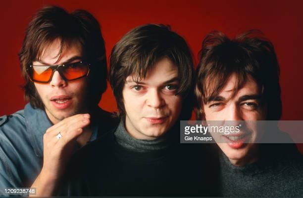 Studio portrait of Supergrass, Gaz Coombes, Mick Quinn, Danny Goffey, Vaartkapoen , Brussel, Belgium, 9 December 1995.