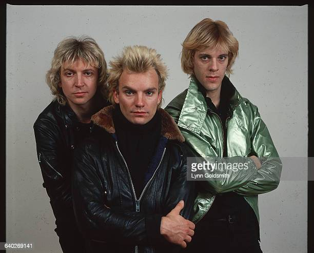 1978 A studio portrait of the members of the British pop band The Police wearing winter coats Left to right guitarist Andy Summers singer and bassist...