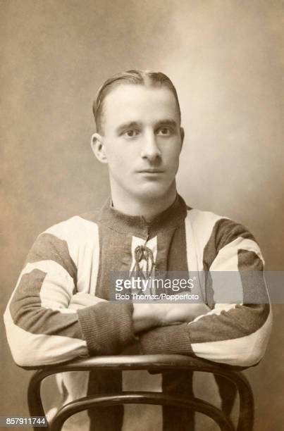 A studio portrait of the renowned cricketer AP Titch Freeman who played for Kent and England circa 1925 pictured wearing a football shirt the kit of...