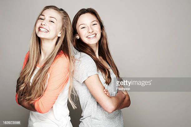 Studio portrait of two women who are best friends