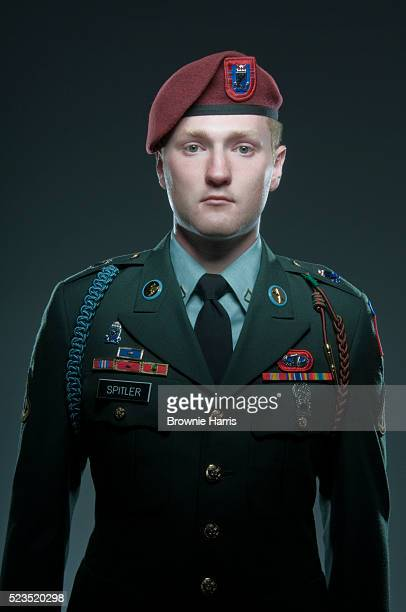 Studio portrait of United States Airborne soldier