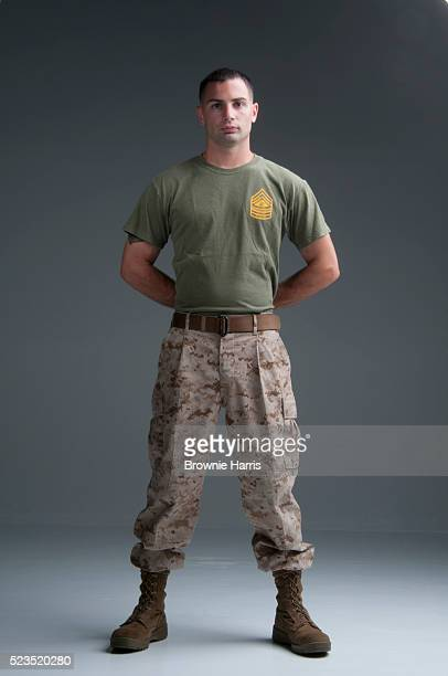 Studio portrait of United States Marine Corps soldier
