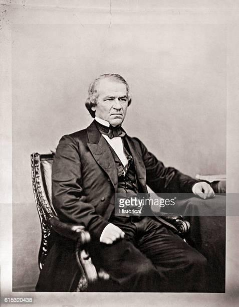 Studio portrait of United States President Andrew Johnson .