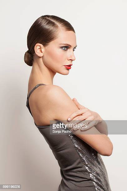 studio portrait of young woman - up do stock pictures, royalty-free photos & images