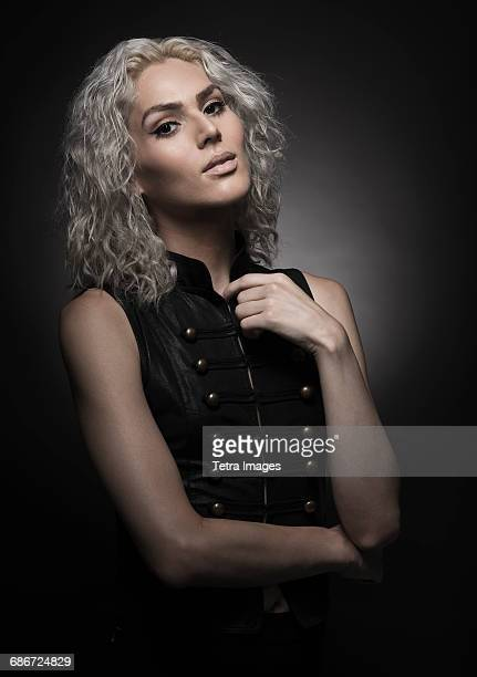 studio portrait of young woman with white hair - black transgender stock pictures, royalty-free photos & images