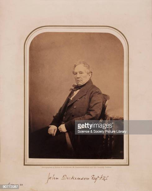 Studio portrait photograph by Maull and Polyblank of John Dickinson , paper manufacturer. Dickinson took out a patent for a means of making paper in...