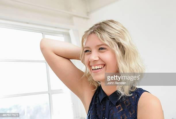 Studio portraits of happy, optimistic people