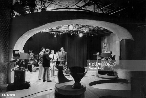 Studio Set Arches Over Education Project Workers In Diamond Hill Building In Denver From left Levi Beal of KFSC Gene Linder program chief Gordon Law...