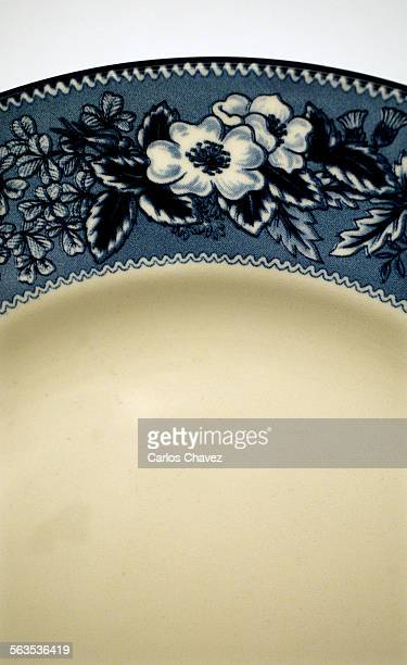 Studio shoot of a verity of plates and a bit of thire history A deatil shot of 'Highgrove' by Wedgewood from Williams Sonoma