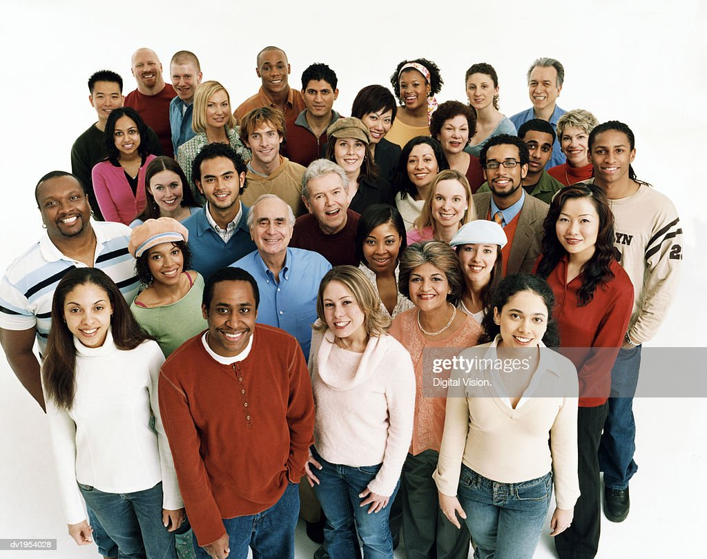 Studio Shot of a Large Mixed Age, Multiethnic Group of Men and Women : Stock Photo