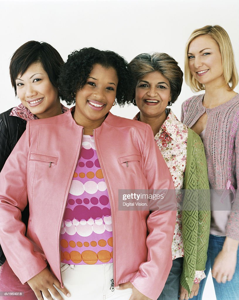 Studio Shot of a Mixed Age, Multiethnic Group of Laughing Women : Stock Photo
